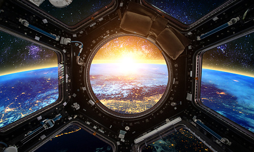 View of earth from inside spacecraft
